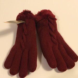 Dark Red Burgundy Knit Gloves Fur Wrist